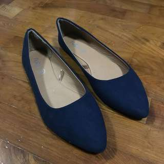 Navy Blue Pointed Flats