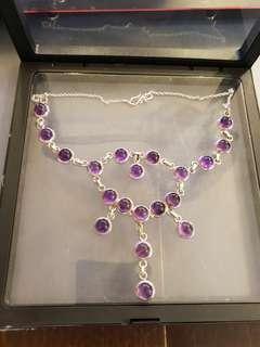 Elegant Evening Dress Purple Crystal 925 Sterling Silver Necklace Choker women Ladies'vintage jewelry