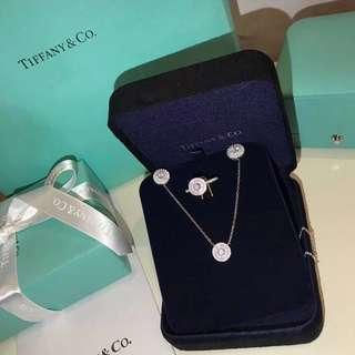 Tiffany 頸鏈+耳釘+戒指