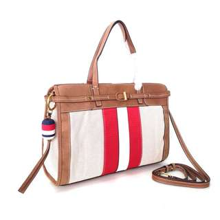 Tory Burch Canvas and Suede Satchel