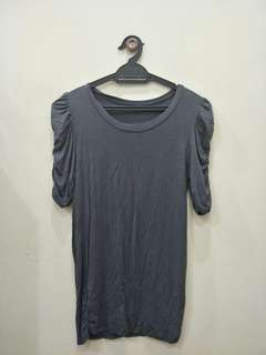 #July100 Grey Casual Top with Puffy Short Sleeves