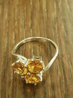 Vintage Yellow Round Crystal Dress casual Sterling Silver ring