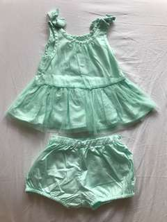 Gingersnaps top and short mint green tutu with bow details