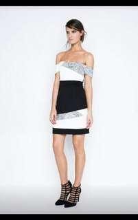 Asymmetric off shoulder business dress