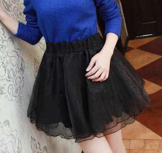 instock black layer skirt