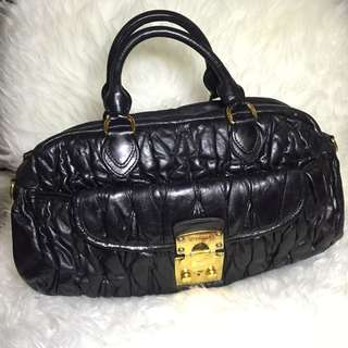 Authentic MIU MIU Matelasse Hand Bag Black