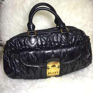 Authentic MIU MIU Matelasse Hand Bag Black