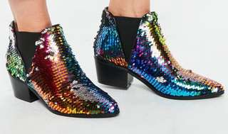 Sequin Chelsea Ankle Boots Size 7