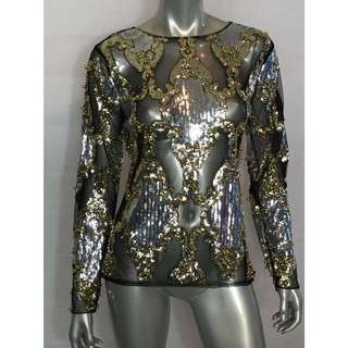 Embellished Sequin Beaded Mesh Black Silver Gold Top Balmain Style