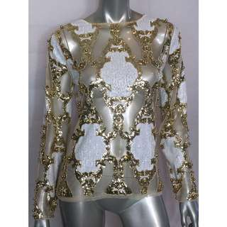 Embellished Sequin Beaded Mesh Nude White Gold Top Balmain Style