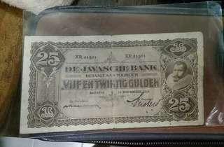 DeJavaCheBank 25Gulden Banknotes 1929