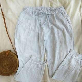 Light blue jogger pants (fabric is slight linen// garterized)