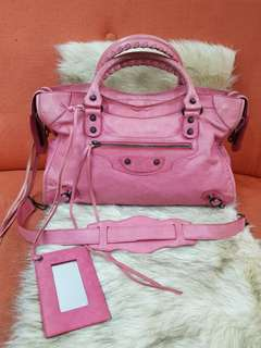 Authentic Balenciaga Classic City Motorcycle Two Way Leather Bag In Pink