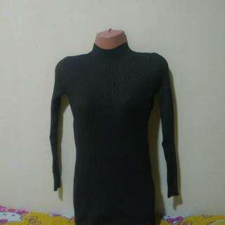 BANGKOK KNITTED GREY TURTLENECK BODYCON DRESS