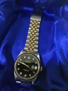 Rolex datejust black diamond dial