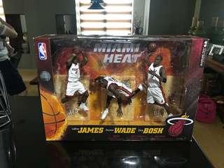 LeBron James, Dwayne Wade and Chris Bosh collectible figures