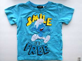 PRELOVED Happy Smurf Smile It's Free Kid's Blue T-shirt  - in very good condition