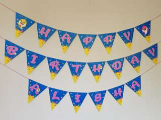 Baby Shark Birthday Banner Bunting Party