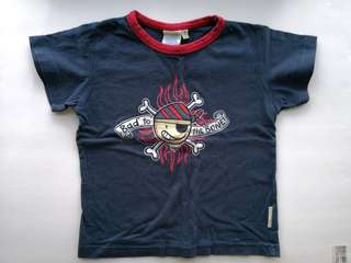 PRELOVED Bad To The Bone Cartoon Pirate Navy Blue & Red Kid's T-shirt - in good condition