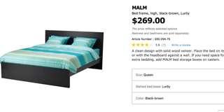 IKEA queen size bed and mattress, night stand