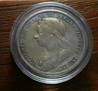 GB Q.Victoria Silver Crown Big Coin.