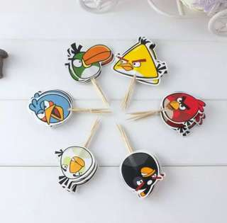 12 pcs Angry Birds Cupcake Topper Cake Toppers Birthday Party Decoration Baking Picks