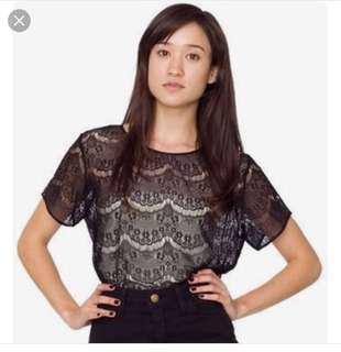 American apparel lace tee