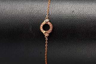 18K Solid Gold AU750 Rose Gold 12 Diamonds  Bracelet