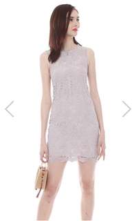 ACW Fine Crotchet Lace Shift Dress In Dusty Grey