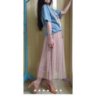 珠繡淡粉色紗裙全新可換物s~XL皆可穿