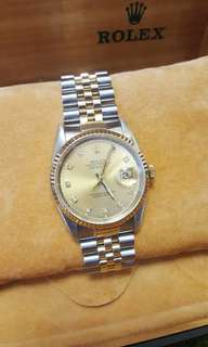 Rolex two tone with diamonds