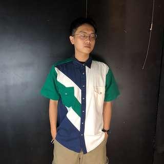 🚚 古著Wrangler綠藍白拼色短袖襯衫75