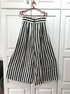 Black and Cream Striped Wide Leg Pants