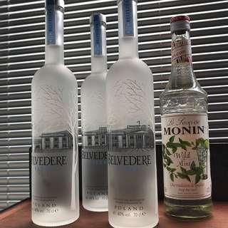 I DUN DRINK VODKA ! BELVEDERE 70CL x 3 + MONIN WILD MINT X 1 (BUNDLE SALE)