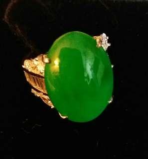 天然翡翠 鑽石戒指 (有證書)