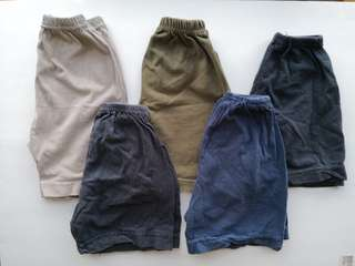 PRELOVED Bundle Set of 5 Boy's Cotton Short Pants in Dark Neutral Colours - in good condition