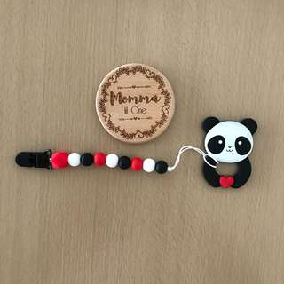 Panda teether + Silicone Teether Clip/ Pacifier Clip