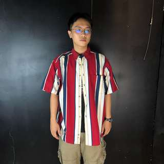 🚚 古著經典紅白藍直條紋短袖襯衫58