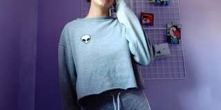 Brandy Melville Alien Patch Crop Sweater