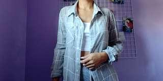 Suzy Sheir Grey & White Grid Buttom Shirt