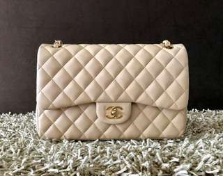 Chanel Classic Flap in Jumbo Beige Claire Lambskin with GHW