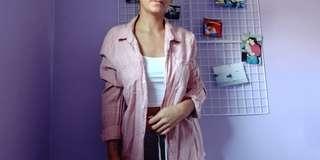 H&M Pink & White Grid Button Shirt