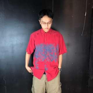 🚚 古著紅色花草剪影短袖夏威夷襯衫