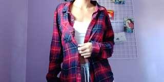 Red/Blue/Black Super Soft Plaid Button Shirt