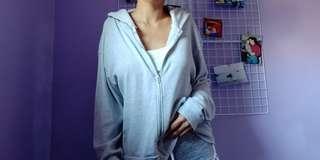 Brandy Melville Light Grey Zipper Hoodie