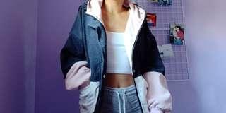 Zaful Pink/Navy Blue/ White Corduroy Jacket