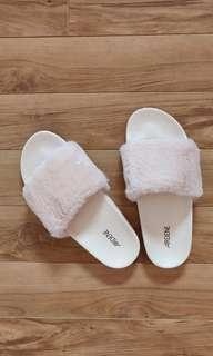 Baby Pink Faux Fur Slide Sandals