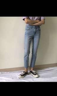 🚚 nu_hi正韓有彈性的淺色牛仔褲