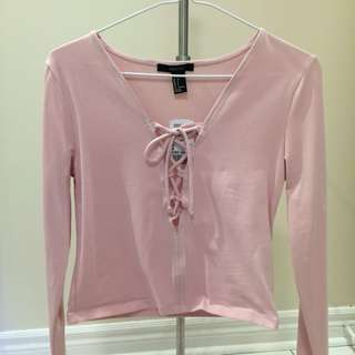 BNWT Pink long sleeve lace up top