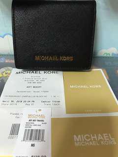 九成新~Michael kors黑色經典防刮牛皮短夾零錢包